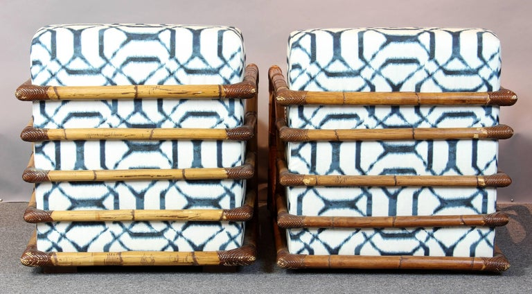 Pair of Art Deco Inspired Rattan Lounge Chairs 4