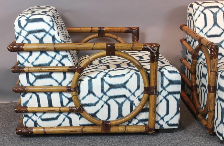 Pair of Art Deco Inspired Rattan Lounge Chairs 7