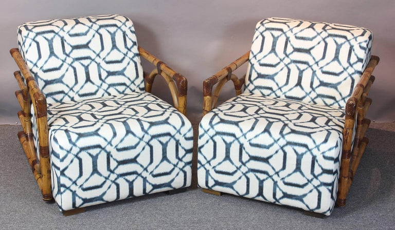 Pair of Art Deco Inspired Rattan Lounge Chairs 5