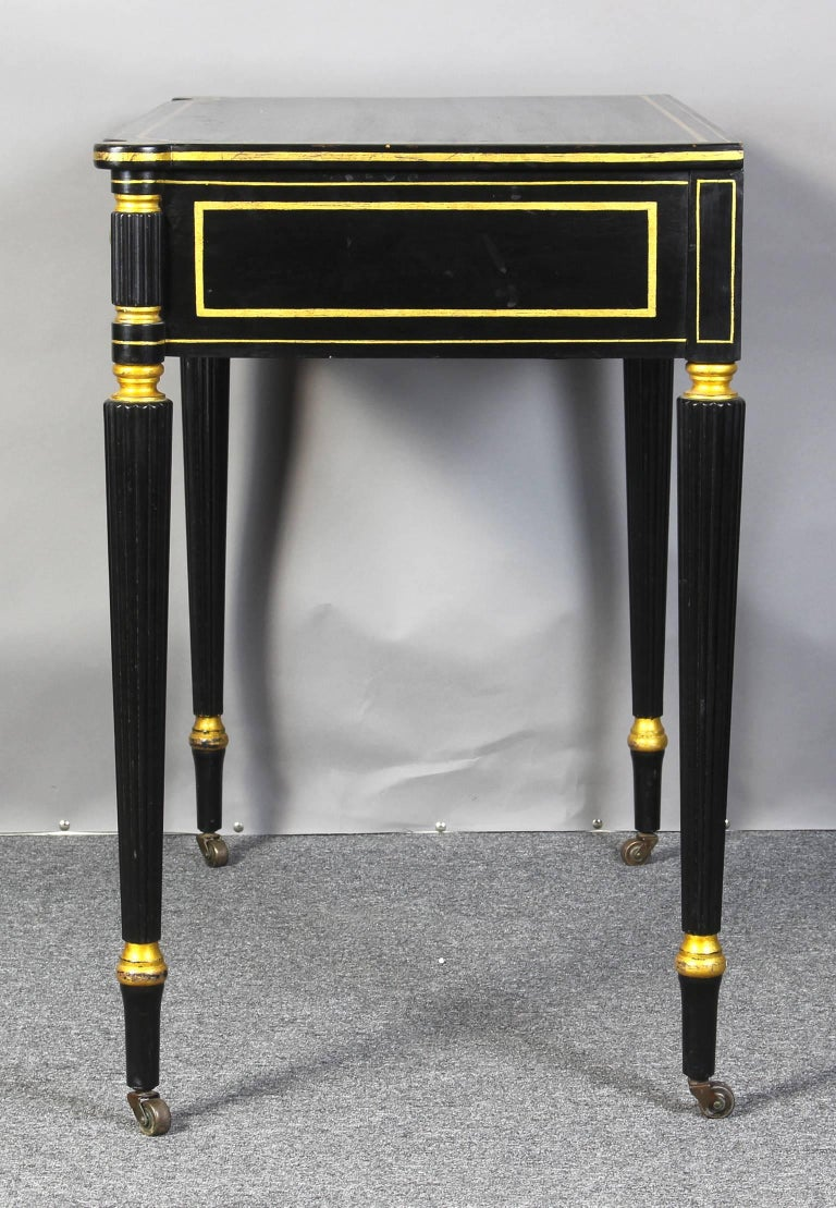 Ebonized and Gilt Decorated Regency Style Console Table 3