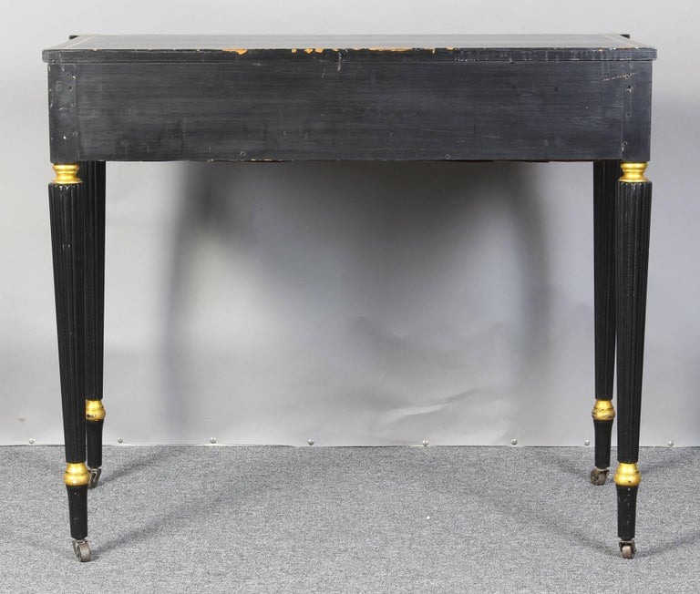 Ebonized and Gilt Decorated Regency Style Console Table 4