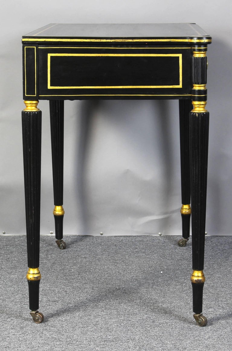 Ebonized and Gilt Decorated Regency Style Console Table 5