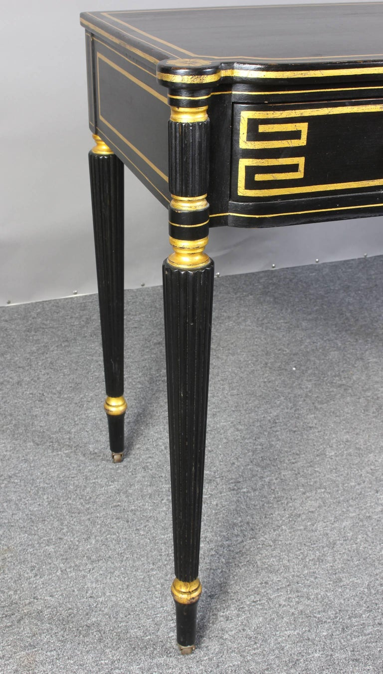 Ebonized and Gilt Decorated Regency Style Console Table 9