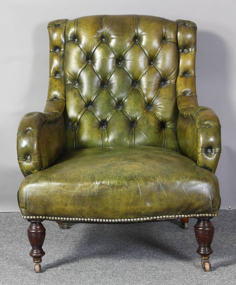 English Leather Library Chair 2