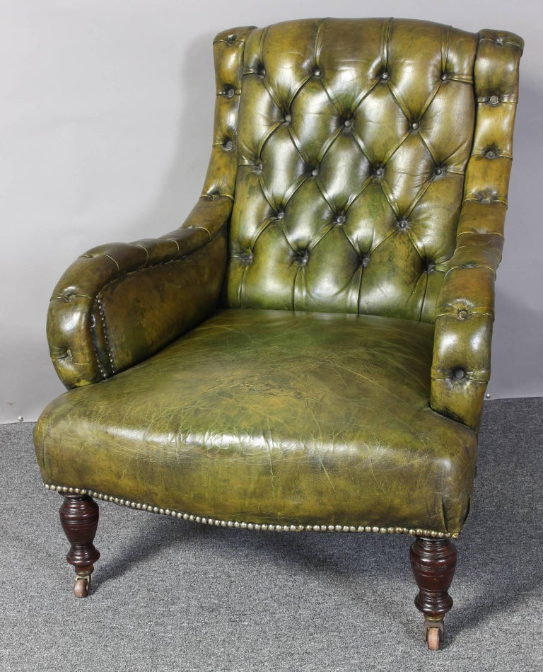 English Leather Library Chair 5