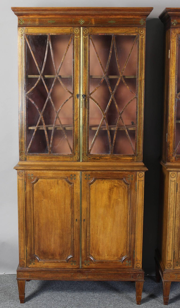 Pair of 19th century rosewood bookcase cabinets for sale for 19th century kitchen cabinets