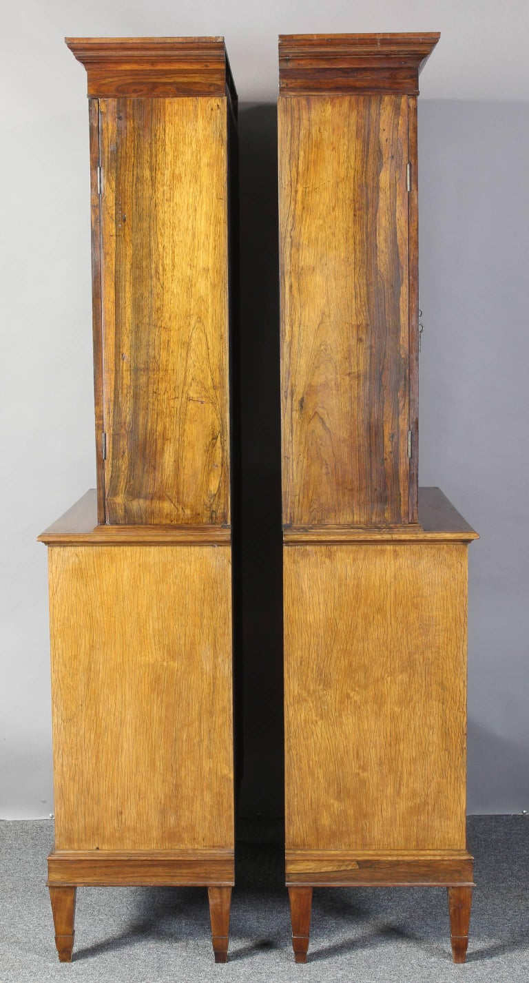 English Pair of 19th Century Rosewood Bookcase Cabinets For Sale