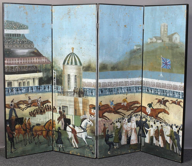 Large Four-Panel Hand-Painted Screen 7