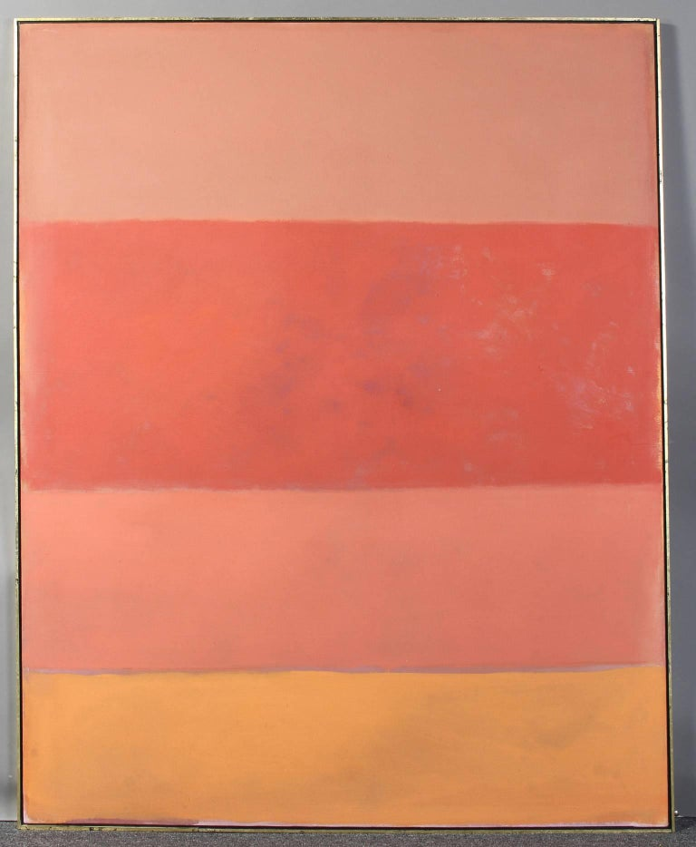 A large and colorful acrylic on canvas painting in the style of Mark Rothko set in a giltwood shadow box frame.
