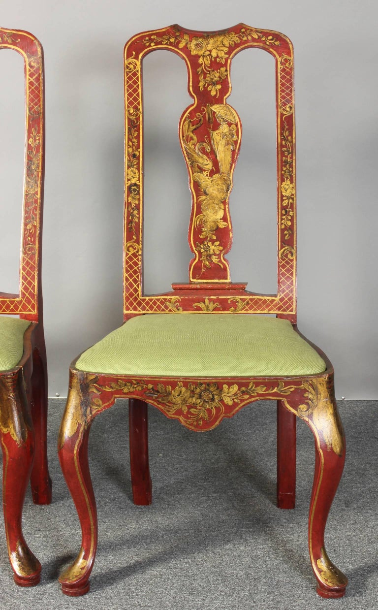 20th Century Pair of Queen Anne Style Chinoiserie Side Chairs For Sale