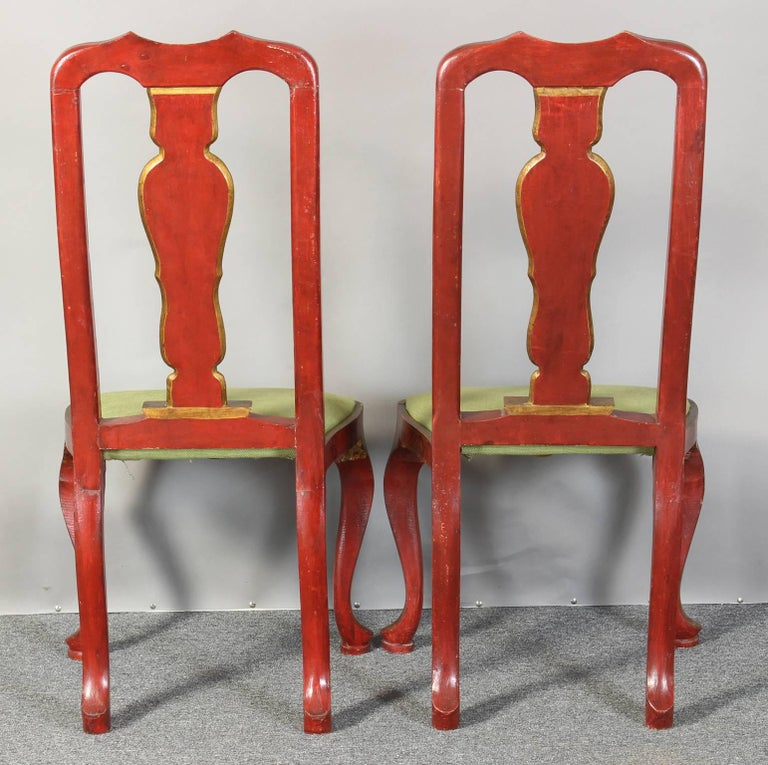Pair of Queen Anne Style Chinoiserie Side Chairs In Good Condition For Sale In Kilmarnock, VA