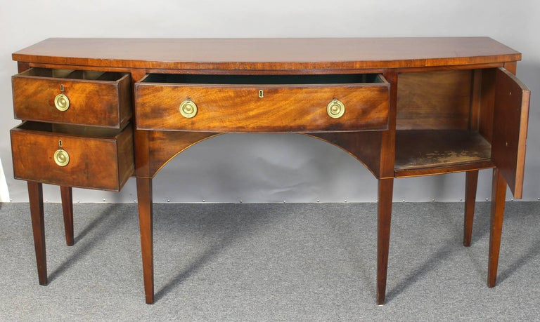 Large George III Style Mahogany Bow Front Sideboard 6