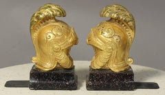 Pair of Italian Roman Helmet Bookends