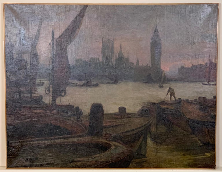A pair of large and dramatic oil on canvas paintings of Views of London on the Thames dated 1913 by the artist Alfred Kemplen.