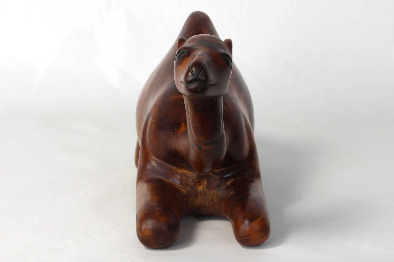 Large carved wood recumbent camel sculpture for sale at