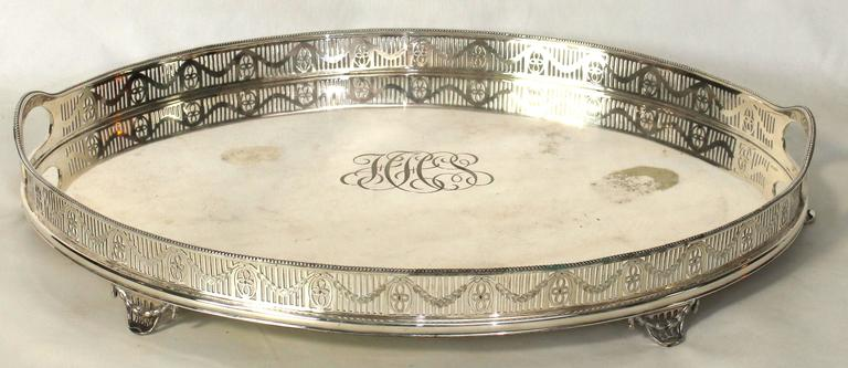 George III Large Sheffield Silver Gallery Tray For Sale