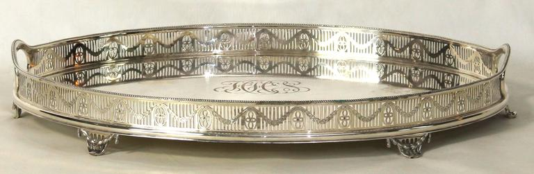 English Large Sheffield Silver Gallery Tray For Sale
