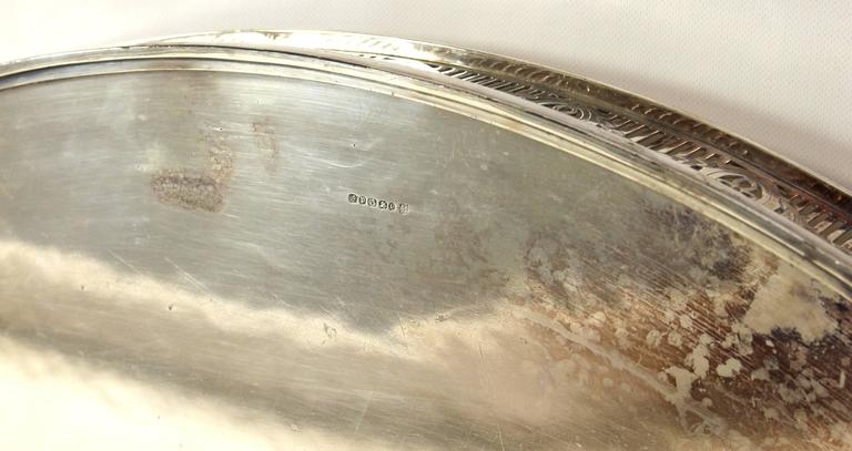 Large Sheffield Silver Gallery Tray In Good Condition For Sale In Kilmarnock, VA