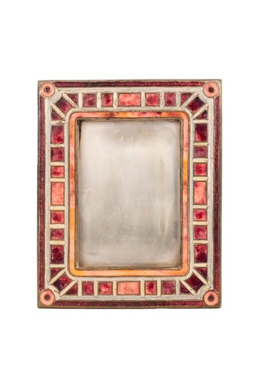 """Art Deco"" Pattern Enameled Picture Frame by Tiffany Studios 3"