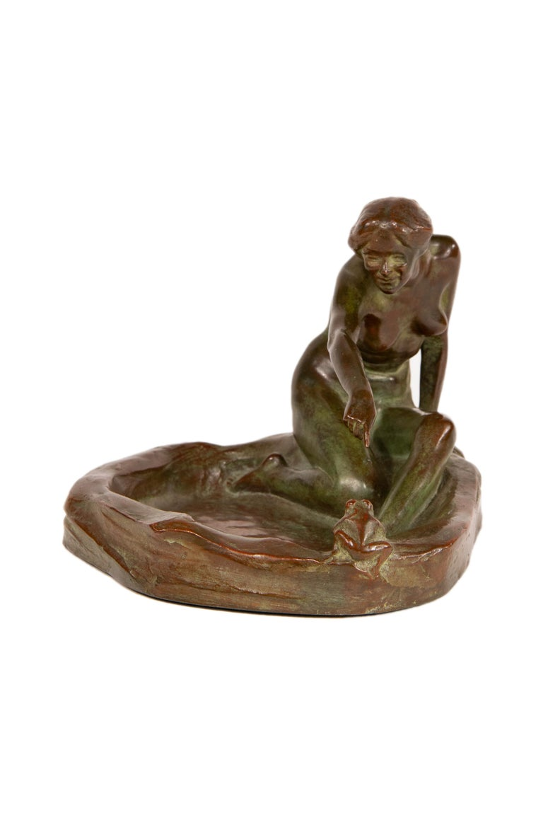 Patinated Girl with Frog American Art Nouveau Sculpture by, Harriet Whitney Frishmuth For Sale