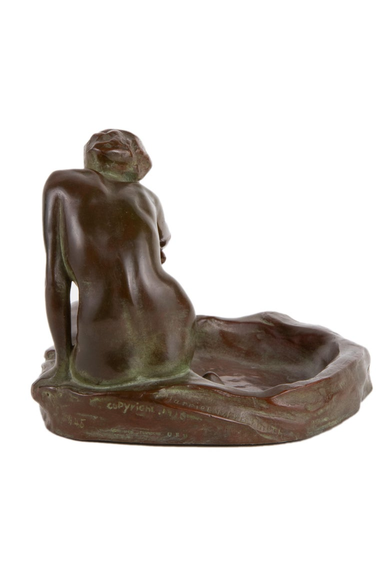 20th Century Girl with Frog American Art Nouveau Sculpture by, Harriet Whitney Frishmuth For Sale