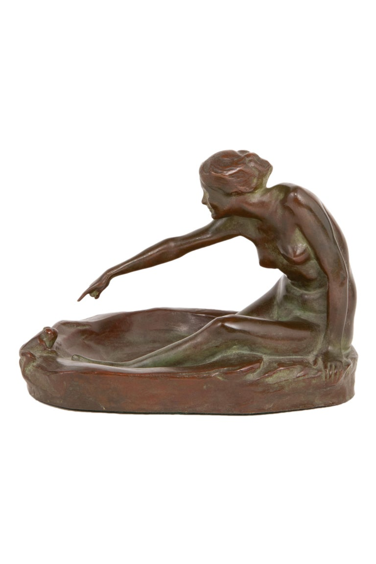 Bronze Girl with Frog American Art Nouveau Sculpture by, Harriet Whitney Frishmuth For Sale