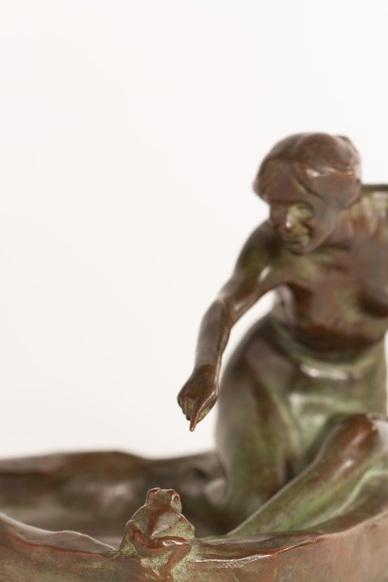 Girl with Frog American Art Nouveau Sculpture by, Harriet Whitney Frishmuth For Sale 2