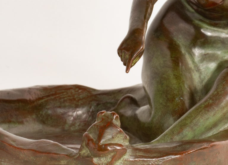 Girl with Frog American Art Nouveau Sculpture by, Harriet Whitney Frishmuth For Sale 4