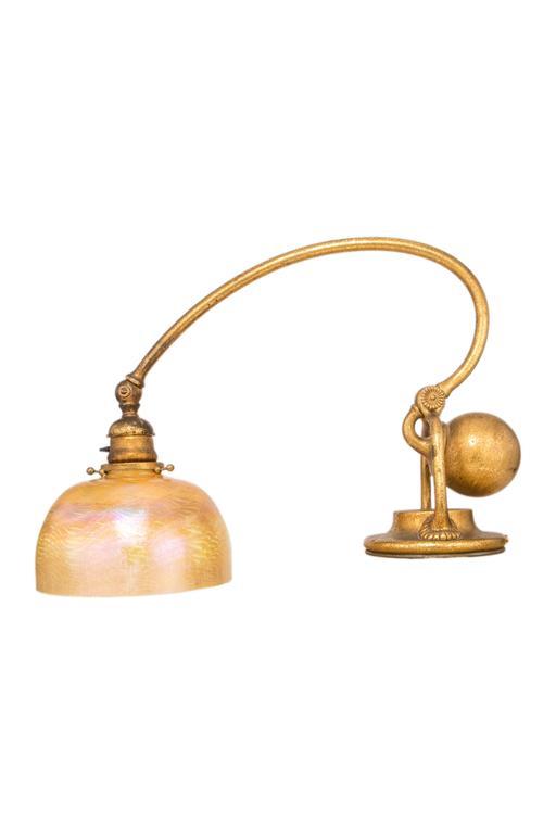 An American Art Nouveau gilt bronze & glass