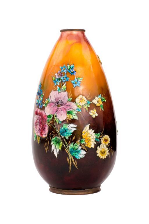 French Art Nouveau Enameled Vase by Camille Fauré For Sale