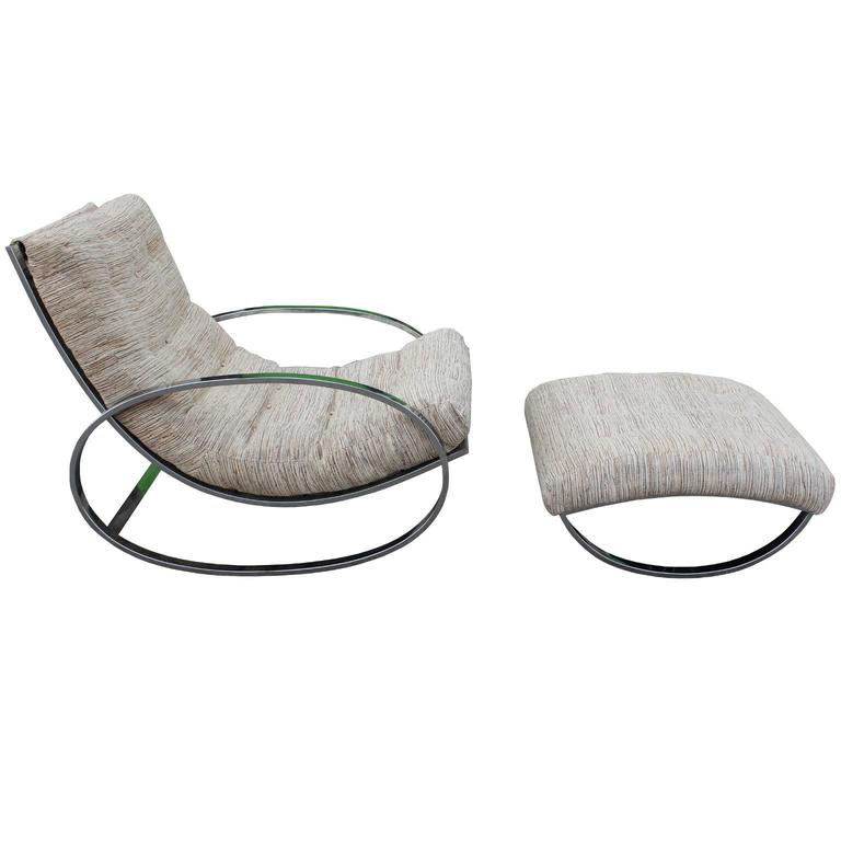 Renato Zevi 'Ellipse' Rocking Chair and Ottoman, in the Style of Milo Baughman