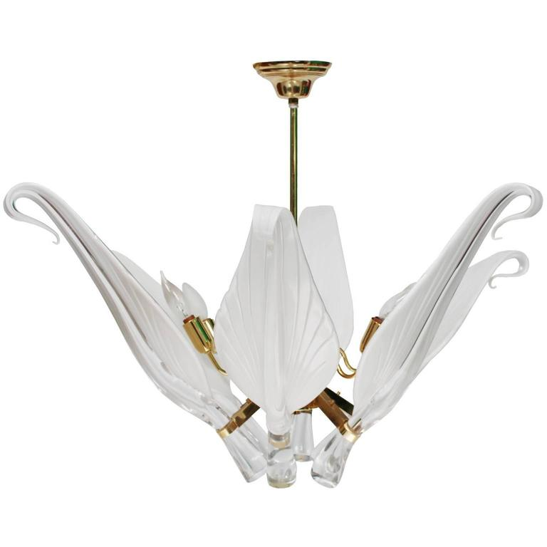 Franco Luce Six-Light Chandelier with Curled Murano Glass Leaves