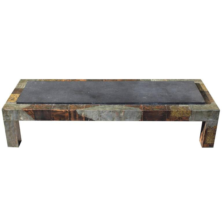 Paul Evans Mixed Metal Patchwork Coffee Table With Slate Top 72 For Sale At 1stdibs
