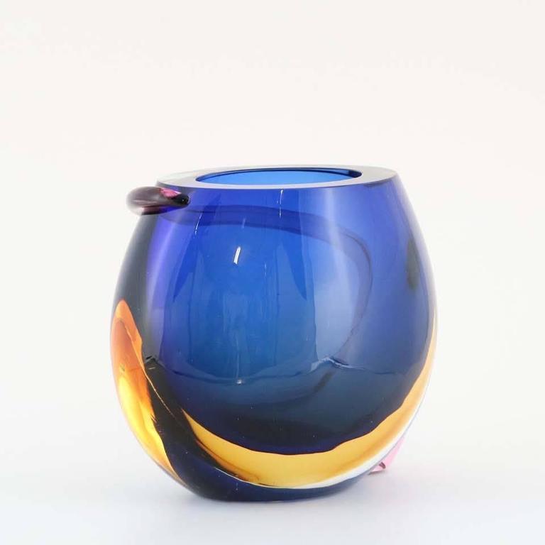 Italian Formia Multicolored Murano Glass 'Sommerso' Vase For Sale