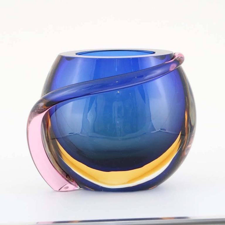 Formia Multicolored Murano Glass 'Sommerso' Vase For Sale 1