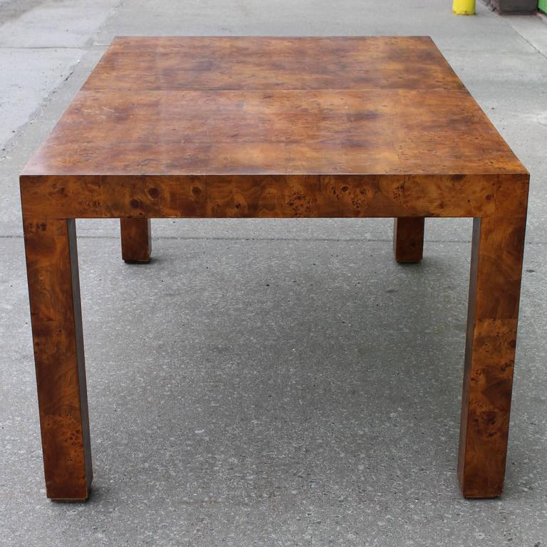 Amazing Modern Milo Baughman Parsons Dining Table In Deep Burl For Lane For Sale