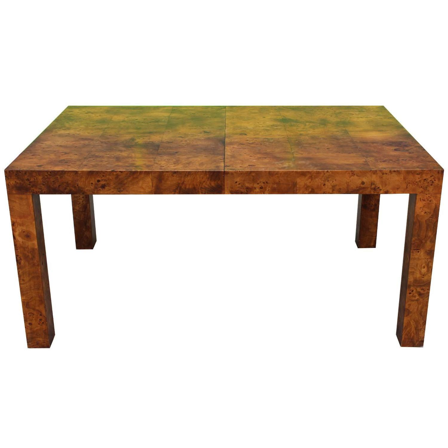 Milo Baughman Parsons Dining Table in Deep Burl for Lane at 1stdibs