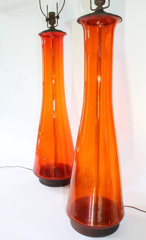 Pair of Blenko Tangerine Glass Table Lamps 8