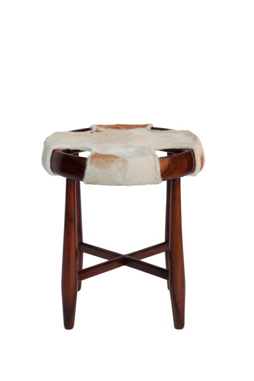 Pair Of Jean Gillon Round Stools With Cowhide Seats At 1stdibs