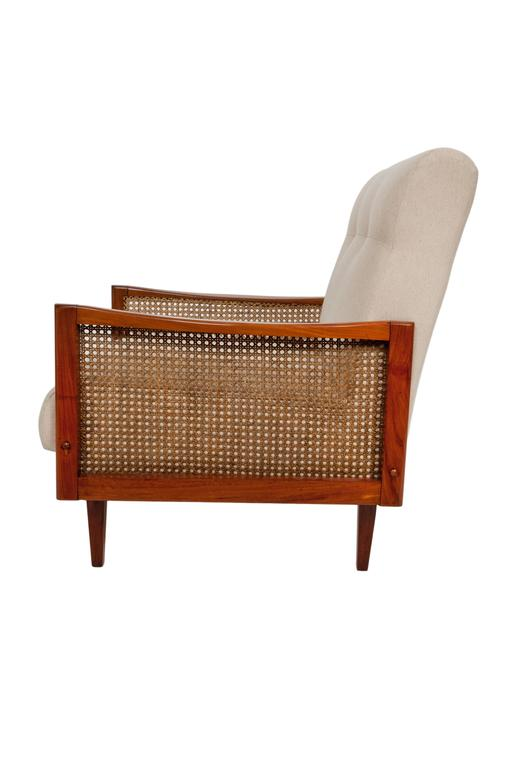 Brazilian Pair of Cane Armchairs in Caviuna For Sale