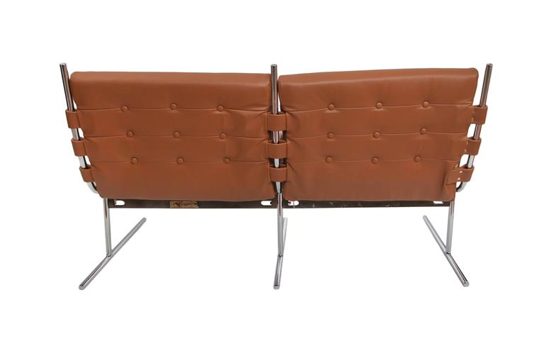 Mid-Century Modern Jorge Zalszupin Leather Sofa on 'T Invertido' Base For Sale