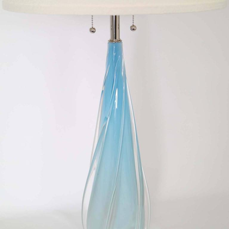 Opaline with Blue in Degrade Murano Glass Lamp by Seguso 4