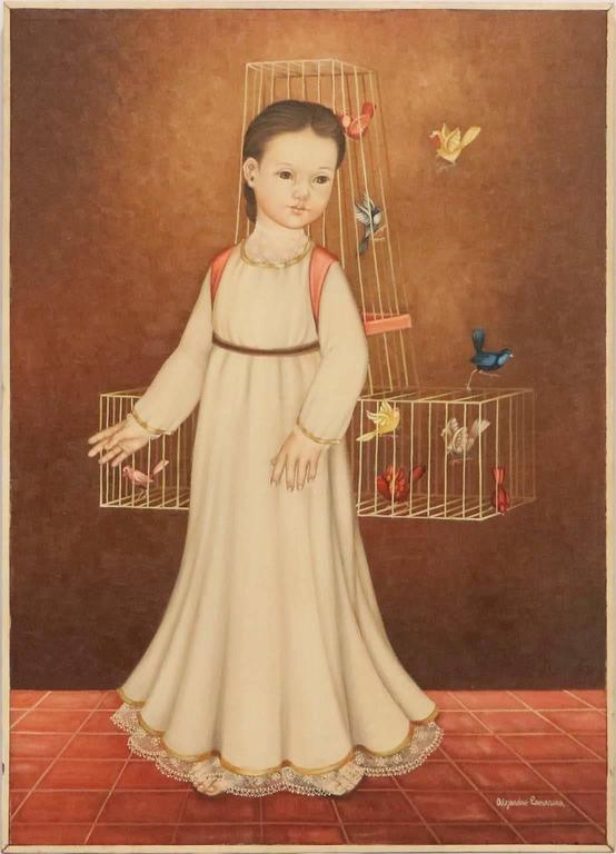 """Alejandro Camarena (Mexican, 1942-2011) oil on canvas, titled """"Nina con Jaula"""" (Girl with a cage), depicting a modernist style young girl, bearing a cage with colorful birds. Markings include the artist's signature to the lower right corner."""