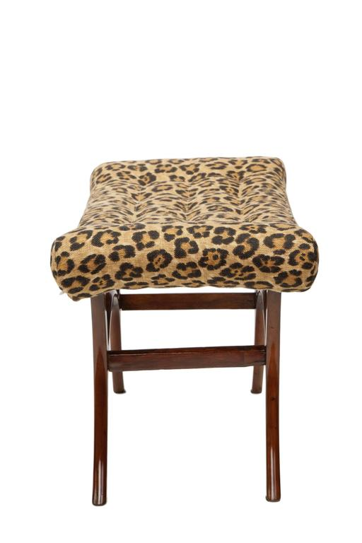 Scapinelli 1950s Brazilian Modern Bench With Linen Leopard Print Seat For Sale At 1stdibs