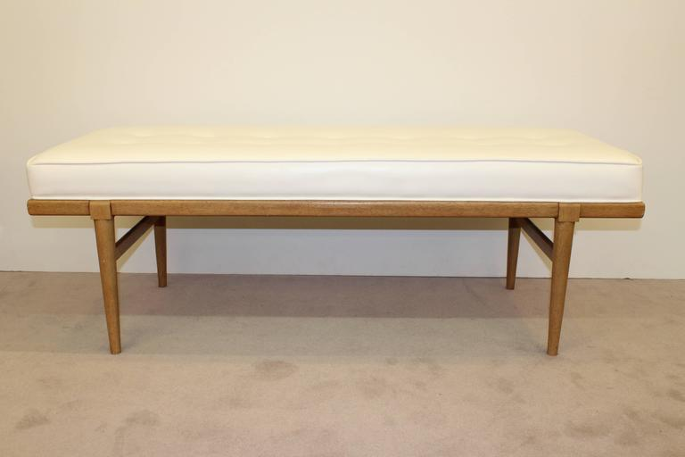 Mid-Century Robsjohn-Gibbings Bench with Leatherette Upholstery 2