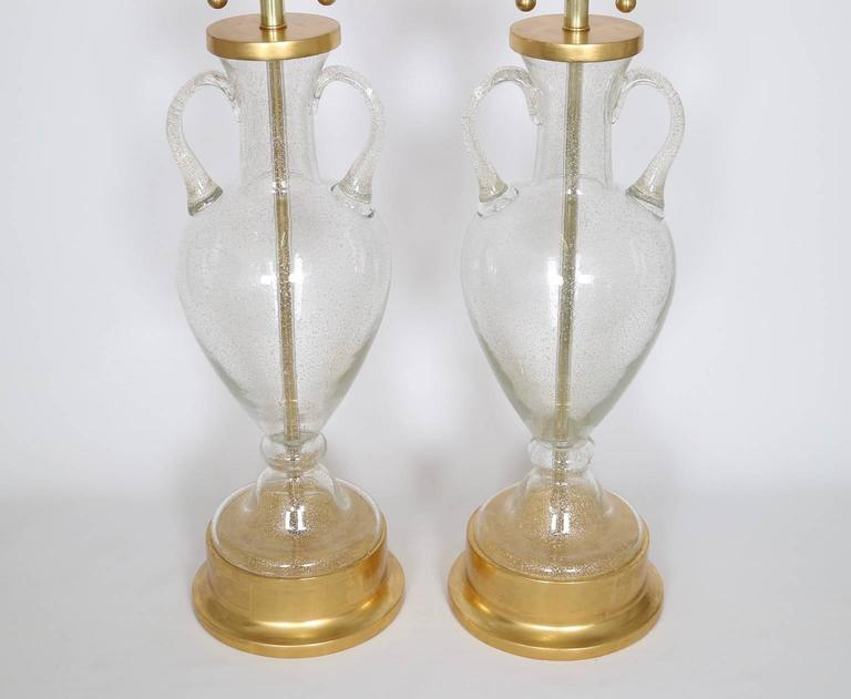 Italian Murano Glass Urn Lamps by Seguso for Marbro, Pair For Sale