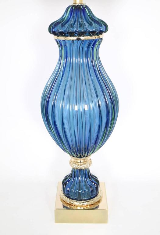 Mid-Century Modern Restored Seguso for Marbro Blue Murano Glass Ribbed Lamp For Sale