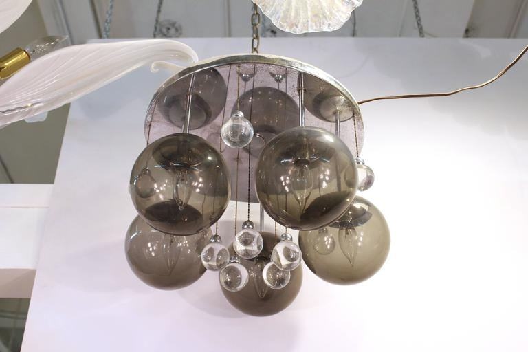 Mid-Century Modern Mid-Century Chrome and Glass Balls Chandelier For Sale