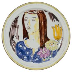 Wilhelm Kage Plate with Portrait of a Woman