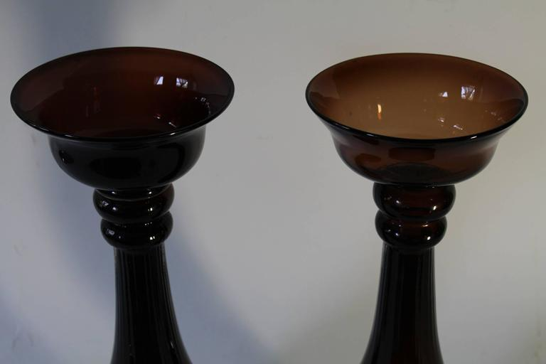 20th Century Pair of Mid-Century Modern Hand Blown Glass Baluster Candlesticks For Sale